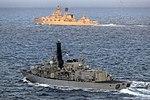 Russian cruiser Marshal Ustinov and HMS St Albans MOD 45165059.jpg