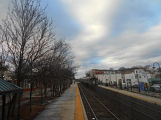 Rutherford station - Rutherford station from the Hoboken Terminal-bound mini high level platform in January 2015.