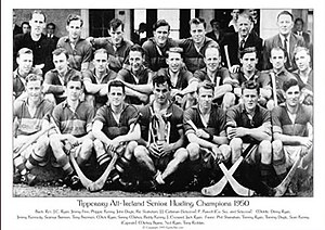 Mick Ryan (hurler) - Ryan on the Tipperary Senior Hurling Panel in 1950, that year's All Ireland Senior Hurling Champions. Ryan is located fifth from the left in the middle row.