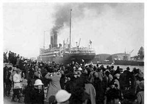 Scandinavian America Line - Scandinavina America Line's S.S. Frederik VIII departing Copenhagen, October 1925.
