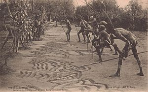 Sandpainting - SLNSW 75764 Warriors in Ambush series 49 Aboriginal Mystic Bora Ceremony