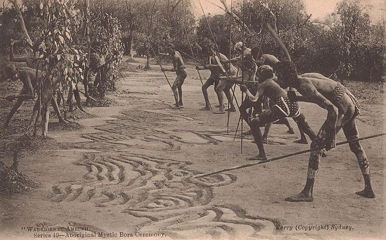 Aboriginal Bora ceremony (early 20th century) SLNSW 75764 Warriors in Ambush series 49 Aboriginal Mystic Bora Ceremony.jpg