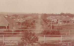 Roseville, New South Wales - Bancroft Avenue, Roseville, as it appeared in a postcard taken in the period 1900–1927.