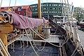 Saga Farmann Klåstadskipet viking ship replica built 2018 mast yard sail shroud Tønsberg harbour havn brygge pier board walk dock brygga Oseberg kulturhus Quality hotel Lindahlplan etc Norway 2019-08-16 04268.jpg