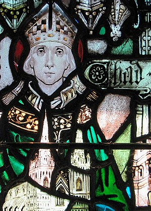 Chad of Mercia - Image of Chad in a stained glass window from Holy Cross Monastery, West Park, New York