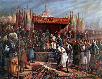 Religious war - Saladin and Guy of Lusignan after the Battle of Hattin of 1187