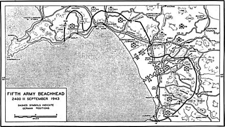 Map of the Salerno beachhead at the end of 11 September 1943. SalernoBeachhead1943 09 11 2400.jpg