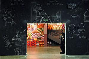 Chalkboard art - La Sucrière Xe Biennale de Lyon (2009) Le spectacle du quotidien by Dan Perjovschi