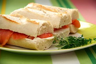 Sandwich - Salmon-and-cream-cheese sandwiches on pieces of baguette