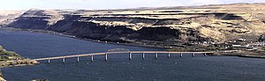 U.S. Route 97 in Washington - A panoramic view of the Sam Hill Memorial Bridge, which carries US 97 over the Columbia River into Oregon. The bridge opened on November 1, 1962 as the Biggs Rapids Bridge and the deck was replaced between October 2007 and March 2009.