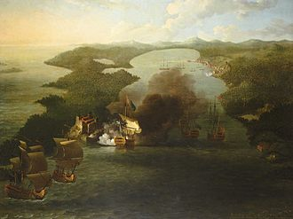 Edward Vernon - The bombardment of Porto Bello by Samuel Scott