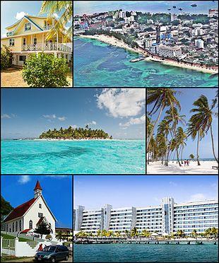 Clockwise, from top: A typical San Andrés house, San Andrés Skyline, Johny Cay, the beach, the San Luis Church, Sunrise Hotel .