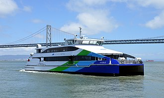 San Francisco Bay Ferry - Hydrus departing the Ferry Building in San Francisco