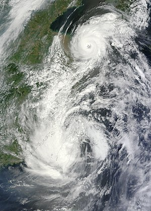 2012 Luzon southwest monsoon floods - Typhoon Saola (Gener) over Taiwan, with nearby storm Damrey