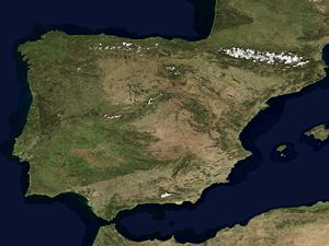 Outline of Spain - An enlargeable satellite image of Spain