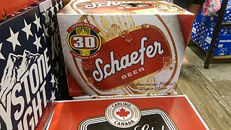 Schaefer Beer - A case of thirty cans of Schaefer Beer.