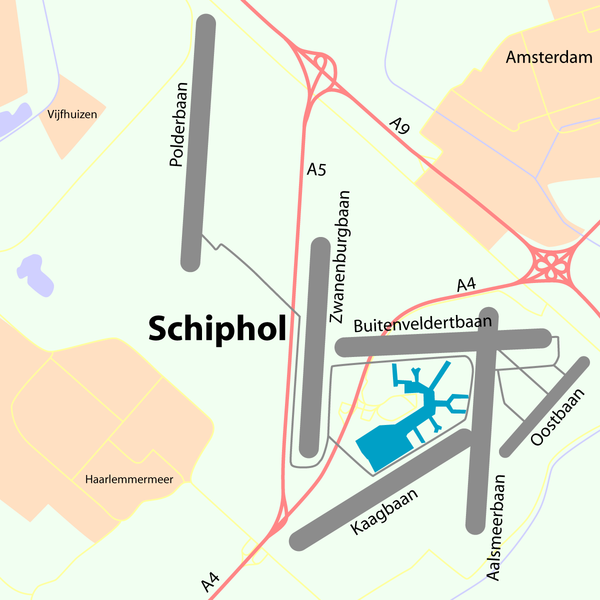 Map showing the six runways of Schiphol.