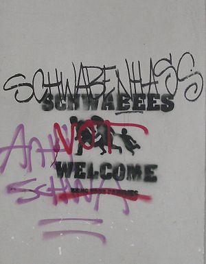 "Schwabenhass - Graffito in Berlin-Prenzlauer Berg at the wall of a ""Swabian Bakery""."