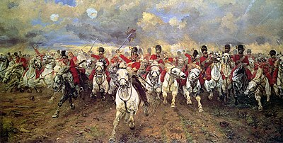 Painting of red-coated cavalrymen in bearskin hats galloping directly toward the viewer