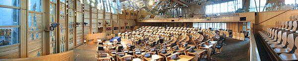 Innenansicht des Schottischen Parlaments