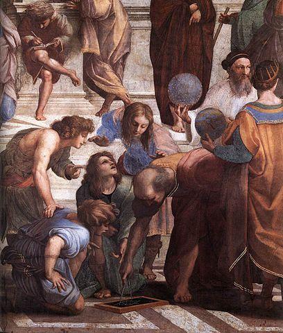 Заратустра держит небесную сферу на фреске Рафаэля Афинская школа