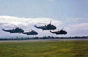 Westland Sea King - A formation of four Sea Kings hovering close to the ground, Prestwick, 1972