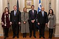 Secretary Pompeo, Mrs. Pompeo, Vice President Pence, and Second Lady Pence Pose for a Photo with Greek Prime Minister Mitsotakis and Mrs. Mitsotakis (49354190476).jpg