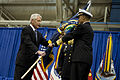 Secretary of Defense Chuck Hagel, left, passes the U.S. Strategic Command flag to U.S. Navy Adm. Cecil Haney during a change of command ceremony at Offutt Air Force Base, Neb., Nov. 15, 2013 131115-D-BW835-413.jpg