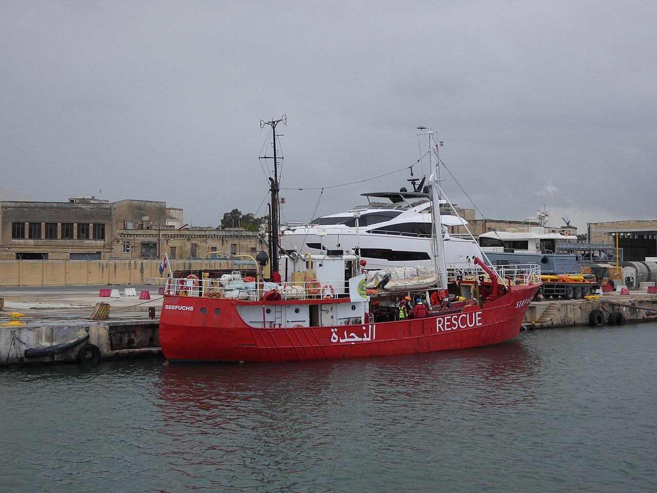 Seefuchs im März 2018 als privater Seenotretter im Hafen von Valletta