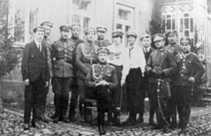 1919 Polish coup d'état attempt in Lithuania - Lt. Adam Rudnicki, leader of the Sejny Uprising, and his colleagues. August 1919