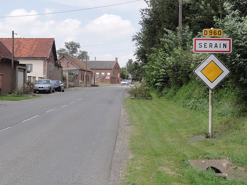 Serain (Aisne) city limit sign