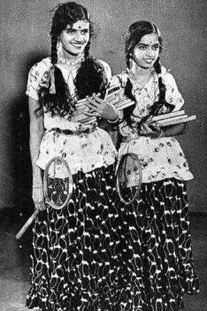 M. S. Subbulakshmi - M.S. Subbulakshmi (left) with S. Varalakshmi in Sevasadhanam (1938)