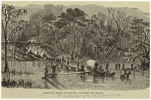 Carolinas Campaign - Lithograph of Howard's Corps of Sherman's Army crossing the Edisto during the Carolinas Campaign from 1872 children's textbook.