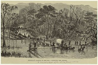 Campaign of the Carolinas - Lithograph of Howard's Corps of Sherman's Army crossing the Edisto during the Carolinas Campaign from 1872 children's textbook.
