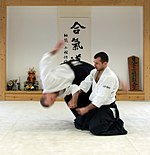"Shihonage technique performed in ""half-seated"" position (Hanmihandachi Waza). Uke is taking forward break-fall (Mae Ukemi) to safely reach the ground."