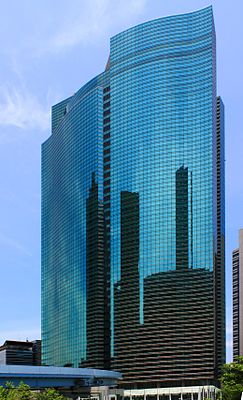 Небоскрёб Shiodome City Center в котором расположена штаб-квартира компании Fujitsu, Минато, Токио.