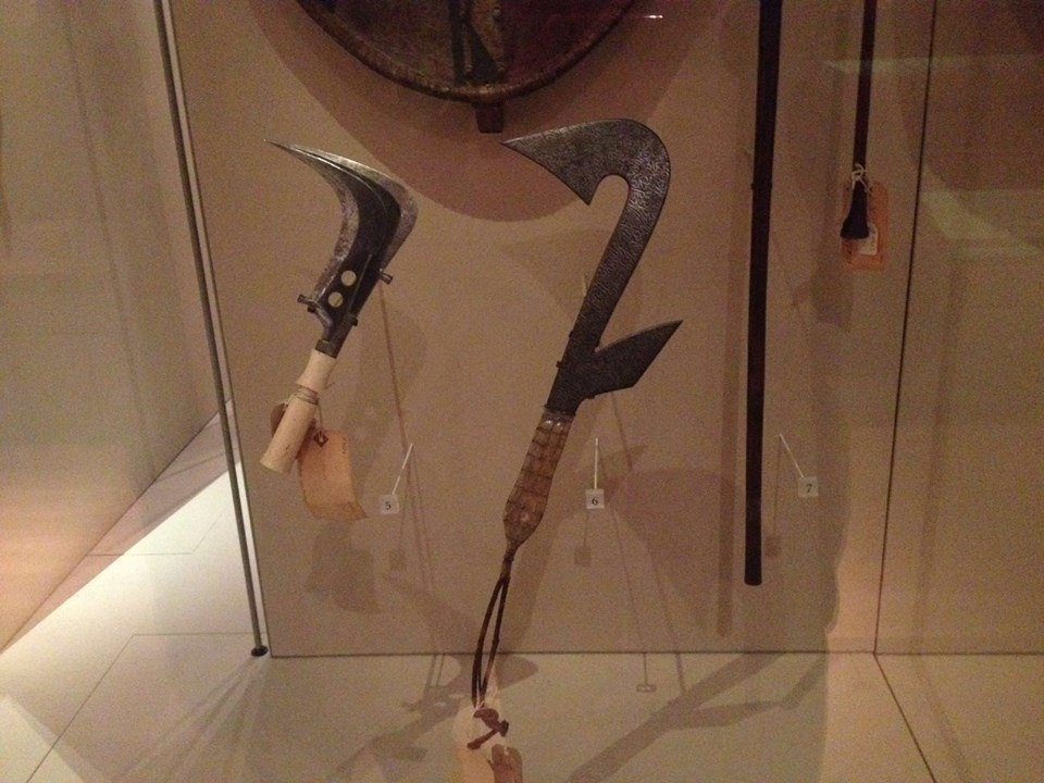 Sickle and throwing knife at Manchester Museum