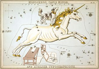 Monoceros - The constellation Monoceros, from Urania's Mirror, a set of star charts from 1825. Includes Canis Minor and the obsolete constellation Printer's Workshop