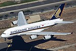 Singapore Airlines Airbus A380 (9V-SKT) about to touchdown at LAX.jpg