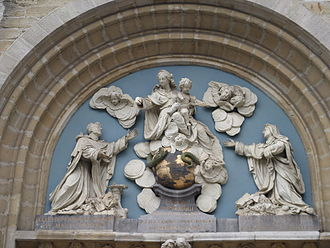 St. Paul's Church, Antwerp - Tympanum sculpture of Our Lady of the Rosary by Jan Claudius de Cock