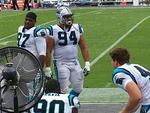 Sione Fua - Sione Fua (94) on the sidelines of a game against the Jacksonville Jaguars in 2011