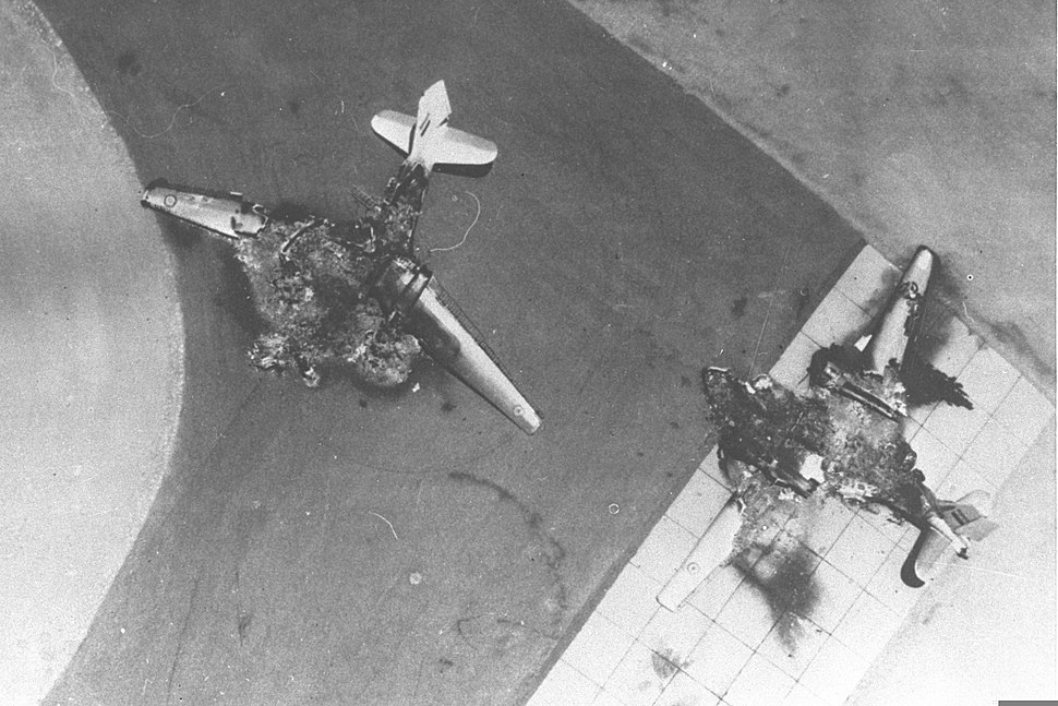Six Day War. Egyptian air force base attacked. Egyptian planes destroyed on the ground. June 1967. D326-011