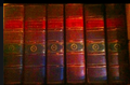 Six full leather bound volumes from a complete 20 volume set of Dobsons Encyclopedia.png