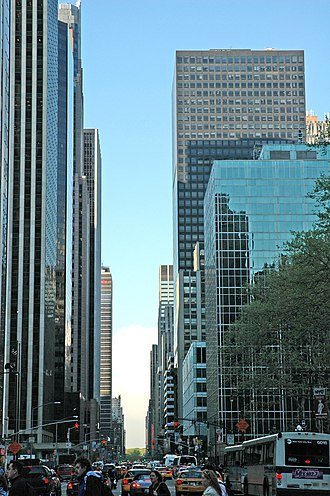 "Sixth Avenue - The ""skyscraper alley"" of International Style buildings along the avenue looking north from 40th Street to Central Park"