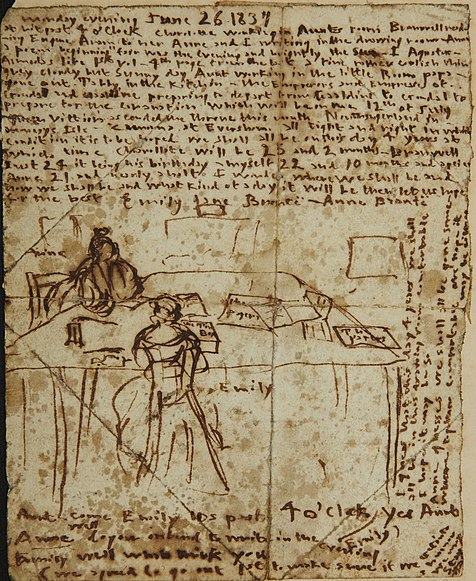 Файл:Sketch by Emily Brontë sgowing herself and Anne at work in the dining room of the parsonage..jpg