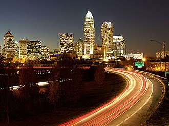Charlotte center city - View from the Central Ave. bridge of Charlotte Center City in 2008.