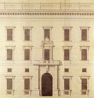 Stockholm Palace - Nicodemus Tessin the Younger's drawing for the central part of the northern facade, circa 1690