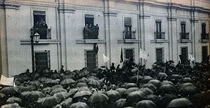Socialist Republic of Chile - March in support of the proclamation of the Socialist Republic of Chile, in front of La Moneda Palace (June 12, 1932)