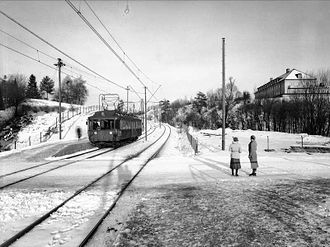 Blindern (station) - Blindernveien Station in 1935, while the eponymous road still crossed the line at the station