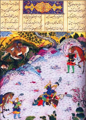 Suhrab overthrows Rustam in their second combat